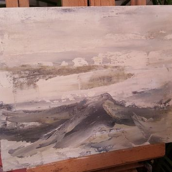 ~ 1966 ~ Oil Painting Seascape . Signed by artist ~ Abstract ~
