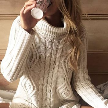 Winter Lover Long Sleeve Turtleneck Cable Side Slit Pattern Pullover Tunic Sweater - 2 Colors Available