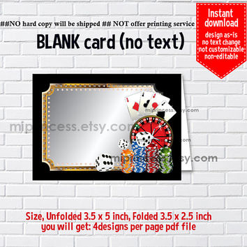 Instant Download, blank Card, #555 Casino party, poker, food tent Card, place card, 3.5x2.5inch printable , non-editable NOT CUSTOMIZABLE