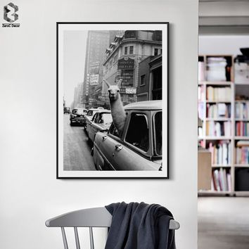 Vintage New York City Posters And Prints Monochrome Canvas Wall Art Alpaca Painting Wall Picture For Living Room Decoration