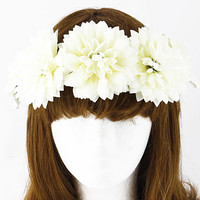 Featuring large flower blossoms, leaves wrapped around on wire, and a flexible vine-like band. lined ribbon headband Tie.
