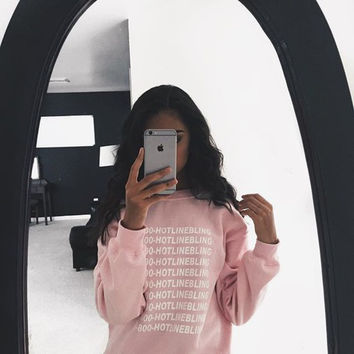 Autumn Fashion Pink Fleeced Thick Warm Hoodies Pullovers 800 Hotline Bling Winter Graphic Sweatshirts Women Harajuku Cute