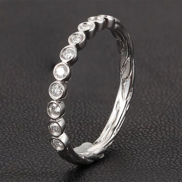Stackable Bezel Set Charles & Colvard Moissanite Half Eternity Band Hand Crafted 14K White Gold Wedding Ring, Same Day Shipping