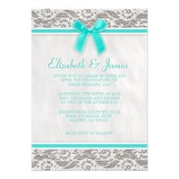 Aqua Country Lace Wedding invitations