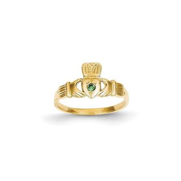 14k Yellow Gold Green CZ Claddagh Ring