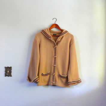 Vintage 1970s sweater // Warm Sand. Toggle. Stripe. Cardigan. Hooded
