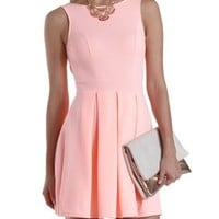 Neon Coral Backless Neon Skater Dress by Charlotte Russe