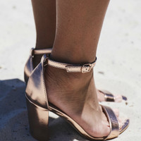 Most Necessary Metallic Rose Gold Open Toe Heels