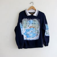 vintage ugly Christmas sweatshirt // tacky christmas sweater // holiday party sweater in blue