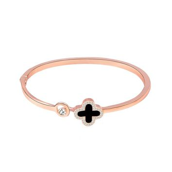 New arrival rose gold bracelet women wear wild jewelry European and American simple four-leaf clover bracelet Featured direct