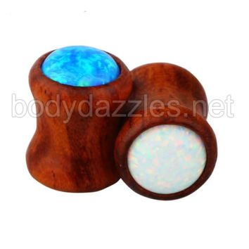 Opal Wood Double Flared Ear Tunnel Plug Ex panders Earlet Gauges With Nature Body Piercing Jewelry Flesh Tunnel