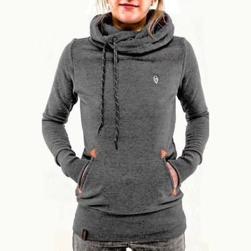 Embroidered Pocket Pure Color Womens Hoodie