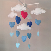Baby mobile - Cot mobile - clouds and hearts - Cloud Mobile - Baby boy mobile - Nursery Decor - Blue Nursery - Blue and pink baby mobile