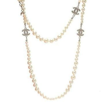 DCCKNQ2 Chanel Woman Fashion Logo Pearls Necklace For Best Gift-15