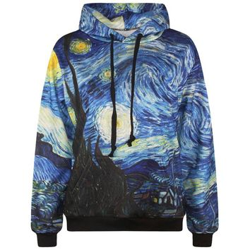Men's 3D Sweatshirt Fashion Print Van Gogh Oil Painting Hooded Hoodies Homme Fashion Clothing Streetwear Hoody With Pockets