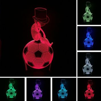 New Xmas Meditation Thinking Football 3D Optical Illusion Soccer LED Art Night Lights Desk Lamp Lighting Baby Room Novelty Gifts