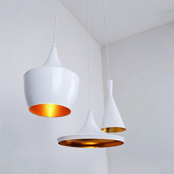 Set of 3 Tom Dixon Inspired Beat Wide Fat Tall White Powder Coat Copper Shade Ceiling Pendant Lights (FREE Worldwide Shipping)