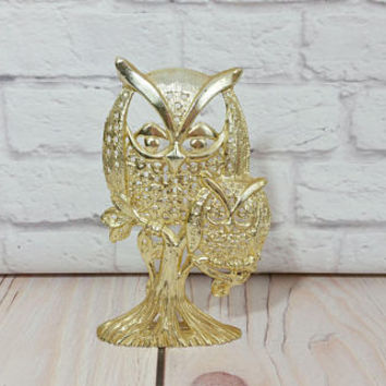 Vintage Metal Gold Toned Torino Owl Earring Display