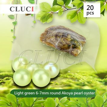 CLUCI Light Green 6-7mm round akoya skittle Pearls in Oysters with vacuum-packing 20pcs, Colorful Round Beads for Jewelry Making