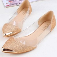 Golden Sequin Point Toe Elegant Flats