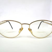 Vintage Semi-Cat-Eye Glasses Prescription Eyeglasses Reading glasses Gold Frame