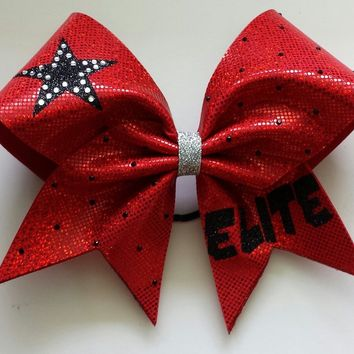 Red elite bow with glitter and rhinestones.