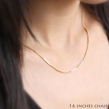 Shimmering Gold Bar Chain  thin simple 14k gold fill by petitor