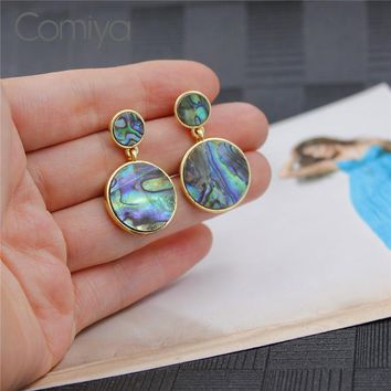 Comiya Simple Fashion Synthetic Stone Mosaic Earrings For Women Zinc Alloy Brincos De Pedra Pendientes Largos Big Earring
