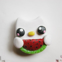Clay Hair Bow Centers, Buttons, Charms, Scrapbook Brads, Chunky Pendant, Necklace Pendant, Magnet - Kawaii Kitty - 1 pc