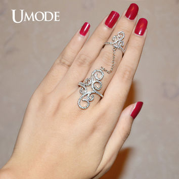 UMODE Vintage Rings Crown Micro CZ White Gold Color Full Finger Ring With Chain Jewelry for Women Palace Anel Anillos UR0265