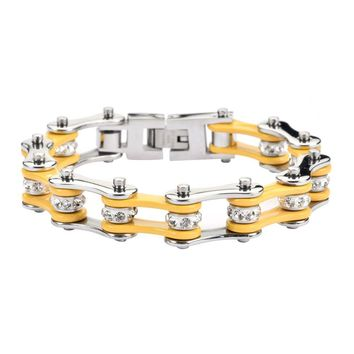 Yellow and Silver Stainless Steel Chain Bracelet with Rolling Crystals