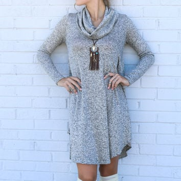 Lunar Love Mocha Cowl Neck Sweater Dress With Long Sleeves