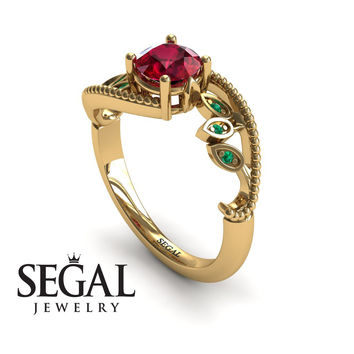 Unique Engagement Ring 14K Yellow Gold Leafs And Branches Victorian Ring Filigree Ring Ruby With Green Emerald - Audrey