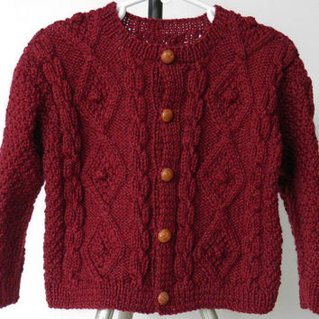 Hand Knit Burgundy Tweed Toddler Fisherman Sweater Size 18 to 24 Months