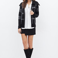 LOVE 21 Fuzzy Plaid Shawl Collar Jacket Black/Ivory