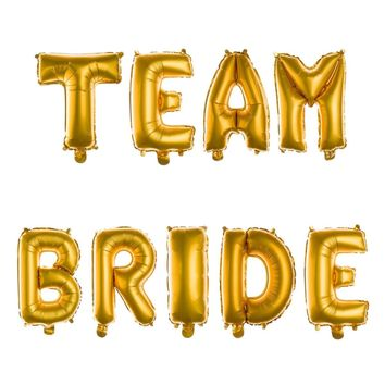 TEAM BRIDE Non-Floating Letter Balloons - 13 Inch Gold