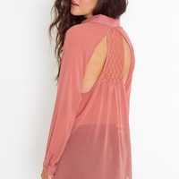 Crochet Racerback Blouse - Coral in Clothes Tops at Nasty Gal