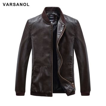 Trendy Varsanol Leather Bomber Jackets Men Long Sleeve Winter Thick Pocket Man PU Jackets Outerwear Hot Sale Zipper Brand Clothing 4XL AT_94_13