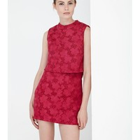 Berry Bonded Scuba Lace Cropped Mini Dress | Dresses