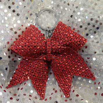 1 Red Rhinestone Bling Keychain Holders Bow Ribbon Cheer Dance