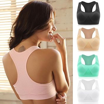 2017 4 color Professional high impact sports bra Top Athletic Running Gym Fitness Women Seamless Padded Vest Tanks M L XL