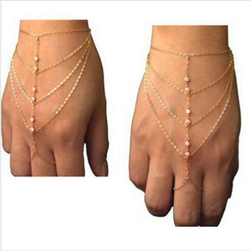Fashion of fatima finger ring hand chain harness slave women New Multi Chain Punk style Harness Finger Bangles For Women