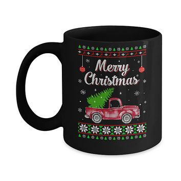 Snow Tree Truck Merry Christmas Ugly Sweater Mug