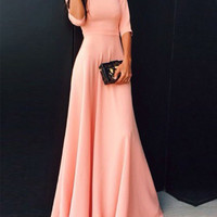 Coral Long Modest Bridesmaid Dresses With Half Sleeves A-line Floor Length Wedding Party Dresses Modest Cheap Custom Made 2017