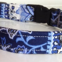 Blue & White Paisley Striped Collar for Girl Dogs and Cats
