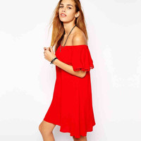 Red Off-Shoulder Ruffled Dress