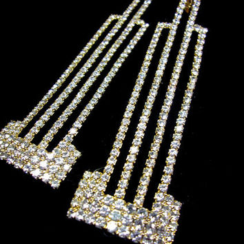 Signed ART DECO 89 Clear Rhinestone Long Earrings, Art Deco, Dangle, Rare Vintage