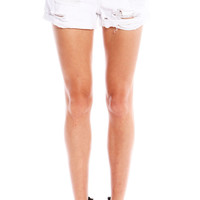 DISTRESSED BOYFRIEND CUFFED SHORTS - WHITE