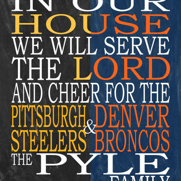 Customized Name Steelers Broncos personalized family print poster Christian gift sports wall art - multiple sizes