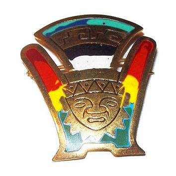 Mayan Face Mask Brooch Red Yellow Green Enamel Gold Metal Aztec God Symbol Vintage